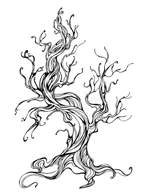 old tree tattoo contour of the tree stock vector image of maturity