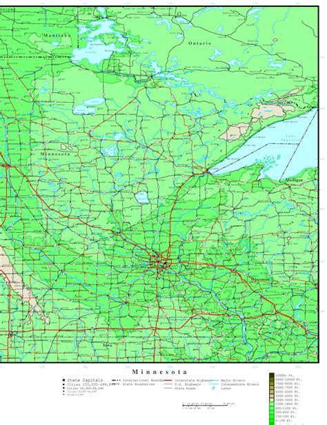 map us minnesota minnesota elevation map