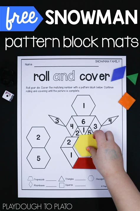 pattern block cover up snowman pattern block mats playdough to plato