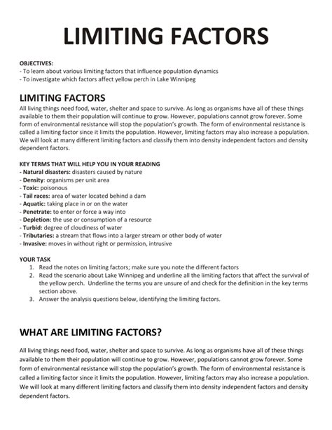 Limiting Factors Worksheet by Limiting Factors Worksheet Answers The Large And Most
