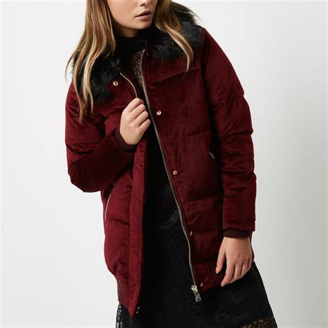 Trim Velvet Padded Coat river island burgundy velvet puffer coat in lyst