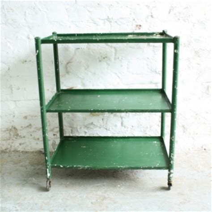 New Home Lighting Design vintage industrial green painted metal shelves trolley