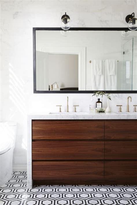 modern walnut bathroom vanity modern bathroom with walnut vanity hex floor marble