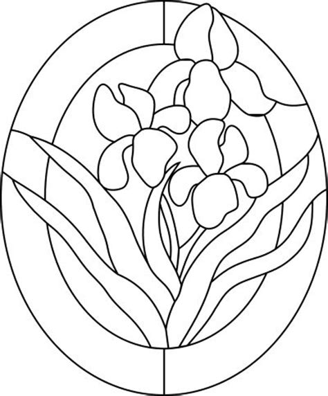 suncatcher coloring page irises pattern for stained glass stained glass