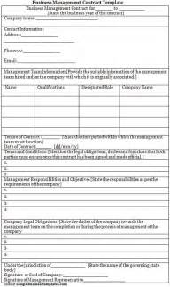 business management contract template sle business