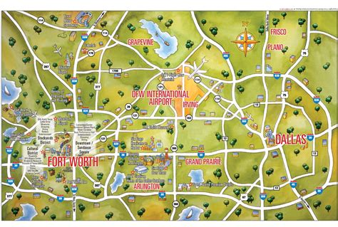 fort worth texas map showing cities dallas and fort worth tourist map