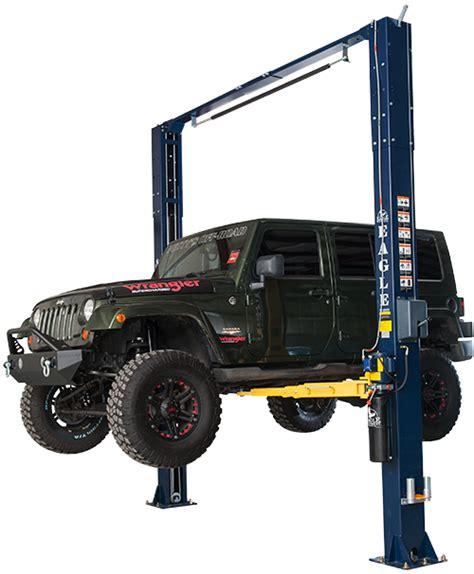 2 post car lift 2 post 11 000 lb symmetric car lift eagle equipment