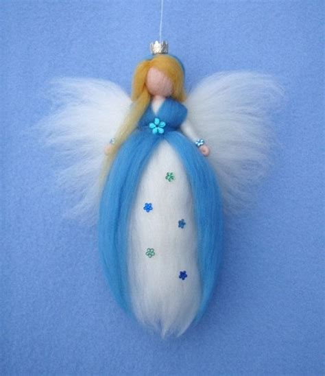 Bros Brooch Ungu Soft princess pale blue needle felted wool doll fairytale grimm brothers soft sculpture waldorf
