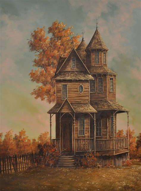 house portrait artist 20th century painting of victorian house by gene waggoner