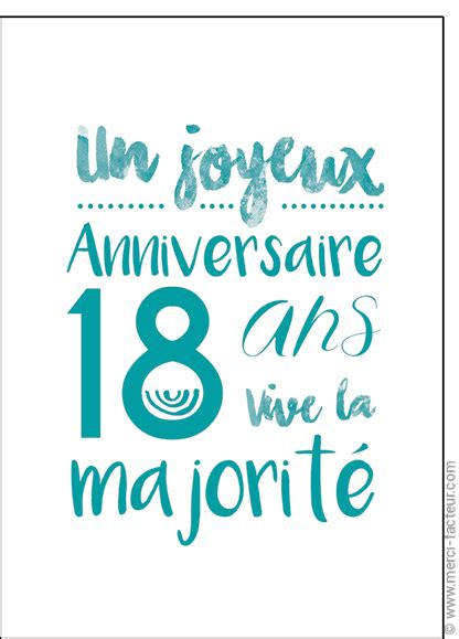 carte anniversaire 18 ans gar 231 on 224 imprimer benjaminmeyer
