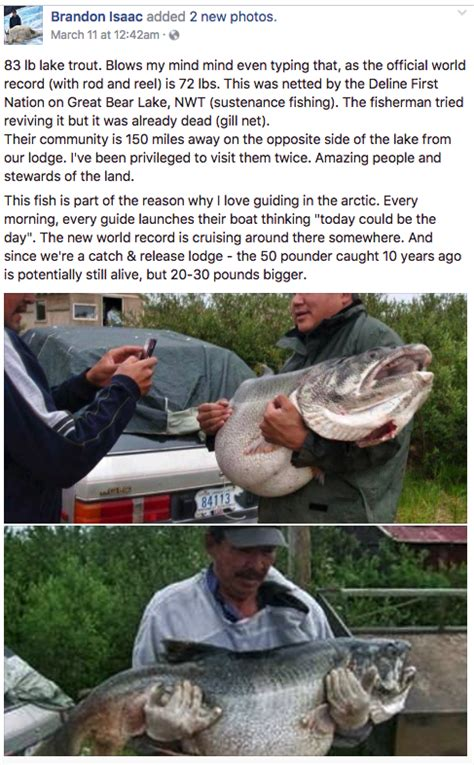 is isaac from the love boat still alive trophy lake trout was world record size game fish