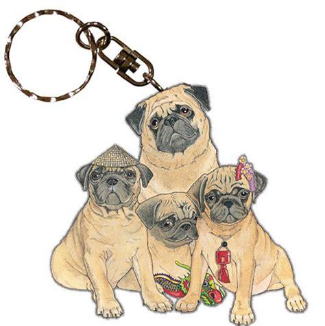 pug keychain pug wooden breed keychain key ring ebay