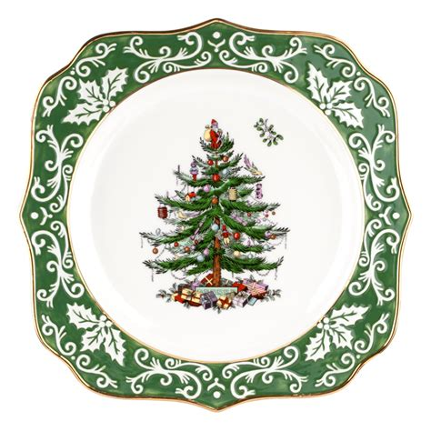 spode christmas tree gold embossed scalloped plate 39 99