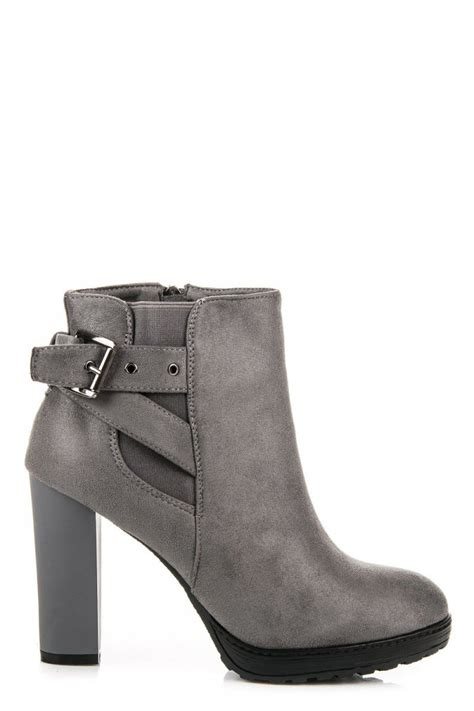 High Hells Suede fashion e shop high heels suede booties with wide heel