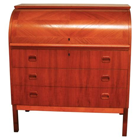 mid century modern cylinder roll top desk for sale
