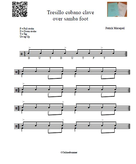 samba drum pattern notation tresillo cubano clave over samba foot onlinedrummer com