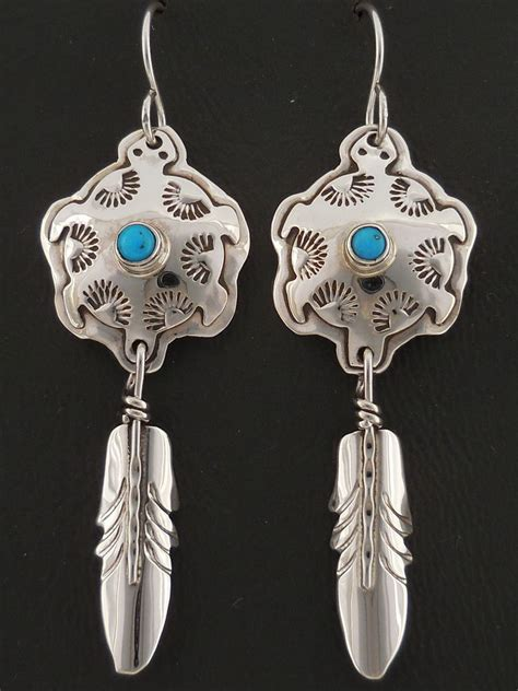 Handmade Feather Earrings - sterling silver feather earrings turquoise american