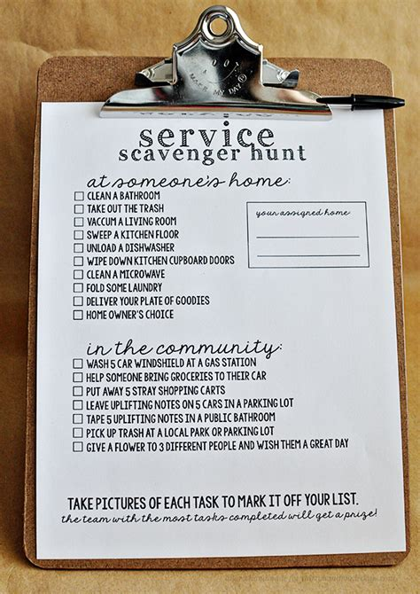 Church Program Ideas For Youth - service scavenger hunt with printables