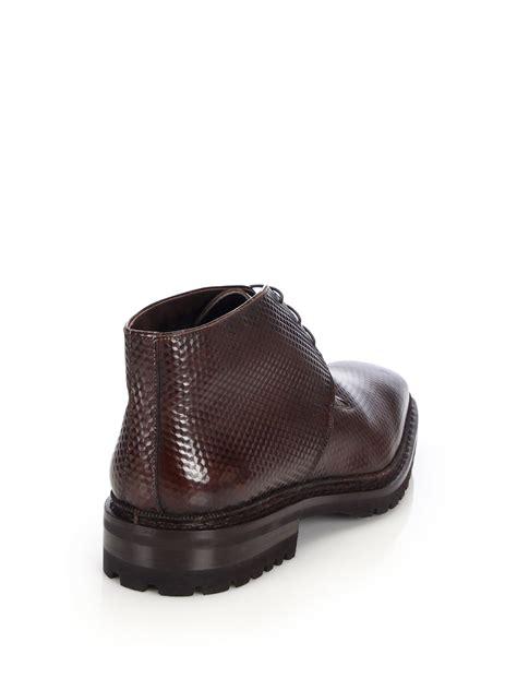 leather chukka boots lyst santoni yukon shearling lined textured leather