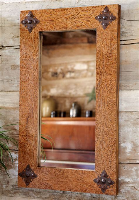 rustic ranch tooled leather mirror