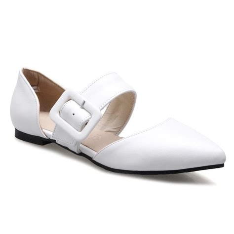 white flat pointed shoes belt buckle pointed toe flat shoes in white twinkledeals