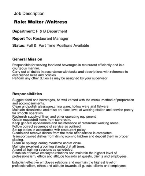 waitress resume sle waitress description 7 exles in pdf