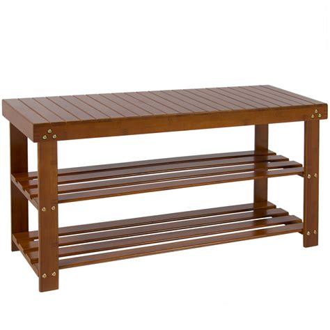 shoe seat bench brown bamboo shoe bench 2 tier boot storage racks shelf