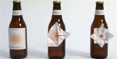 Origami Happy Hour - folded booze labels origami bottles are decorated