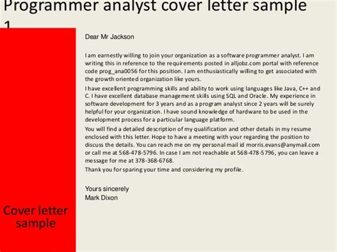 Analyst Programmer Cover Letter by Programmer Analyst Cover Letter
