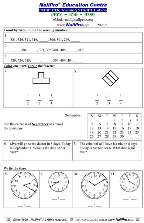 grade 3 math ontario kidz activities