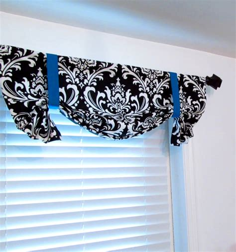 black tie up curtains tie up valance black white damask with blue pink accent