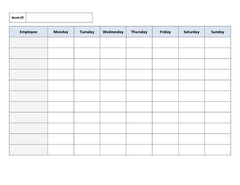 Bartender Schedule Template by Free Printable Work Schedules Weekly Employee Work