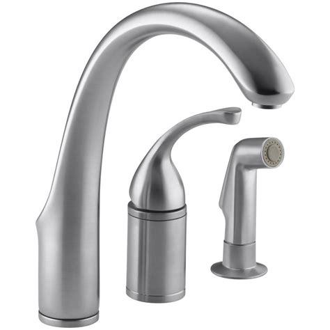 kohler single handle kitchen faucet kohler forte single handle standard kitchen faucet with side sprayer in brushed chrome k 10430 g