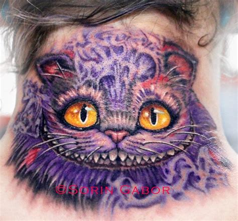 tattoo cat color realistic color cheshire cat tattoo on neck by sorin gabor