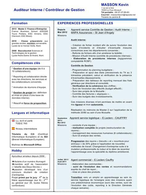 Cv Controleur Financier Exemple Cv Controleur Financier Cv Doc Par Kevin Masson Cv Audit Interne Contr 244 Le De