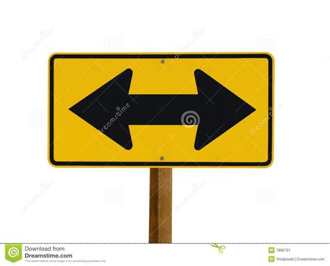 opposite scow yellow sign with two arrows pointing in opposite stock