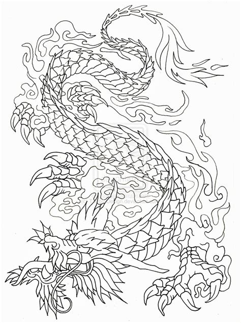 dragon tattoo outline designs outline by design on deviantart
