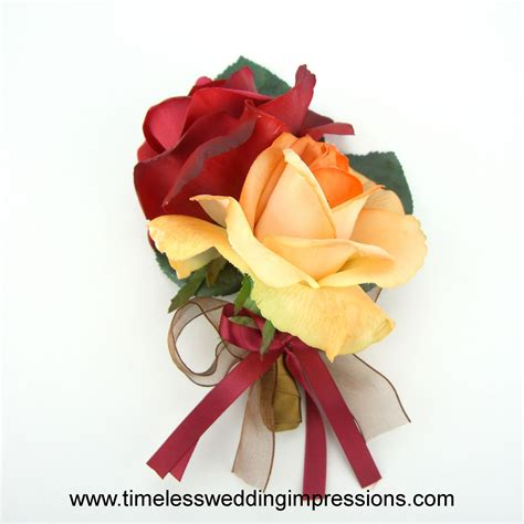 Autumn Silk Wedding Flowers by Fall Wedding Flowers Roses Corsage Real Touch Silk