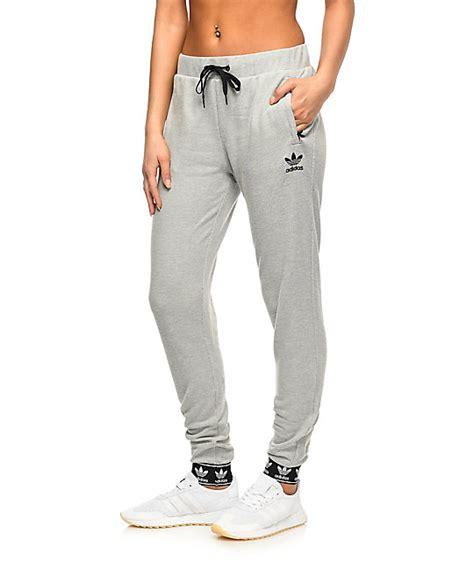 girls gray and black joggers pants adidas trefoil pique cuff grey jogger sweatpants zumiez