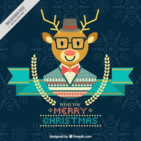 imagenes de feliz navidad hipster tarjeta de feliz navidad con reno hipster en dise 241 o plano
