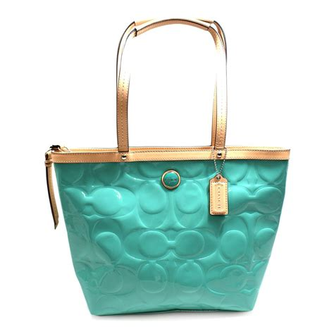 Embossed Tote coach signature embossed patent leather tote 25187