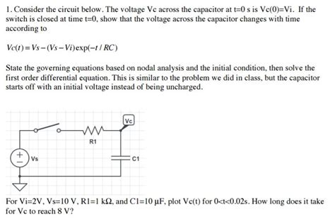 voltage across capacitor t 0 consider the circuit below the voltage vc across chegg