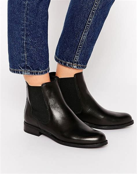 dune dune parry black leather chelsea flat ankle boots