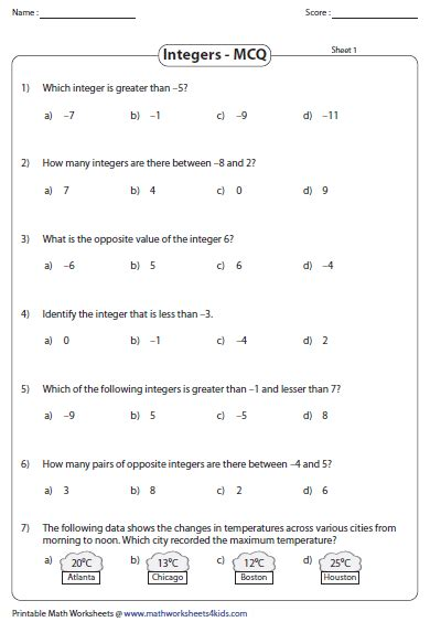 Integer Practice Worksheets by Integers Worksheets