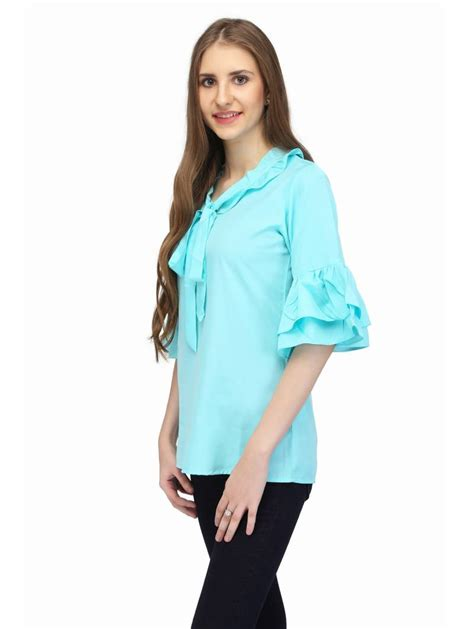 Pastel Tunic Blouse Arian Casual buy light blue solid casual tops