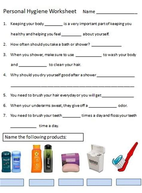 Personal Hygiene Worksheets by Personal Hygiene Worksheet Decembers Theme Health And