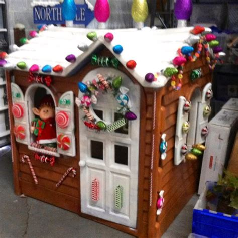 Outdoor Gingerbread House Decorations by Turn An Plastic Outdoor Playhouse Into A