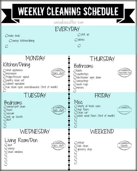 weekly customizable cleaning schedule printable and