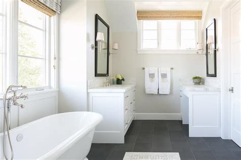 white bathroom floor white bathroom with slate floor transitional bathroom