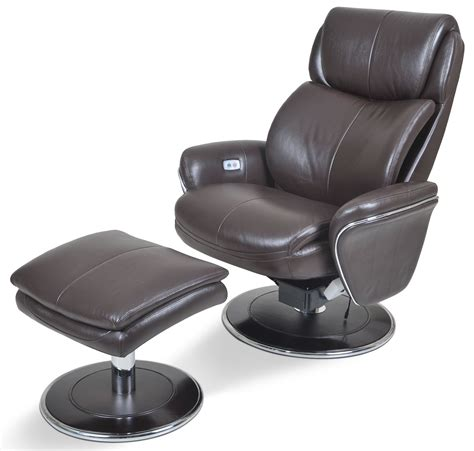 Ergonomic Leather Espresso Chair Ottoman From Cozzia